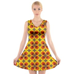 Seventies Hippie Psychedelic Circle V Neck Sleeveless Skater Dress
