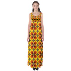 Seventies Hippie Psychedelic Circle Empire Waist Maxi Dress