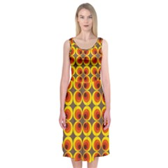 Seventies Hippie Psychedelic Circle Midi Sleeveless Dress