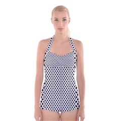 Diamond Black White Shape Abstract Boyleg Halter Swimsuit