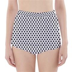 Diamond Black White Shape Abstract High-Waisted Bikini Bottoms