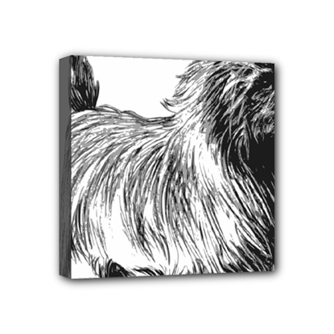 Cairn Terrier Greyscale Art Mini Canvas 4  x 4