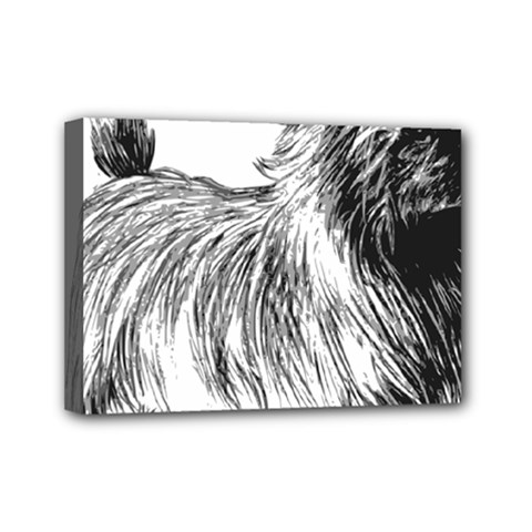 Cairn Terrier Greyscale Art Mini Canvas 7  x 5