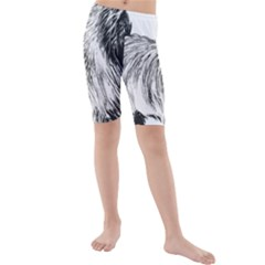 Cairn Terrier Greyscale Art Kids  Mid Length Swim Shorts