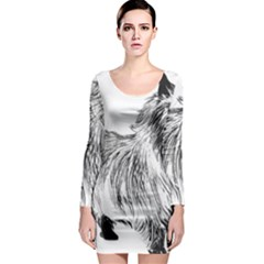 Cairn Terrier Greyscale Art Long Sleeve Bodycon Dress