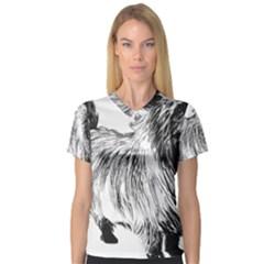 Cairn Terrier Greyscale Art Women s V-Neck Sport Mesh Tee