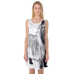 Cairn Terrier Greyscale Art Sleeveless Satin Nightdress