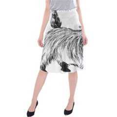Cairn Terrier Greyscale Art Midi Beach Skirt