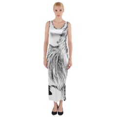 Cairn Terrier Greyscale Art Fitted Maxi Dress