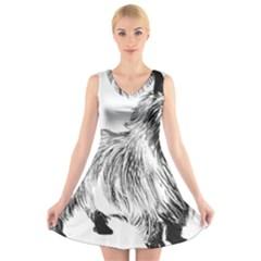 Cairn Terrier Greyscale Art V-Neck Sleeveless Skater Dress