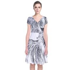 Cairn Terrier Greyscale Art Short Sleeve Front Wrap Dress