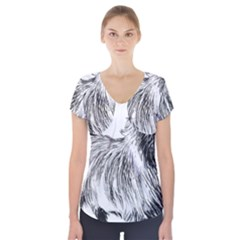 Cairn Terrier Greyscale Art Short Sleeve Front Detail Top