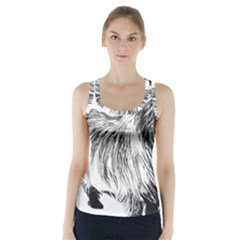 Cairn Terrier Greyscale Art Racer Back Sports Top