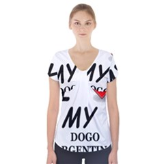 Dogo Love Short Sleeve Front Detail Top