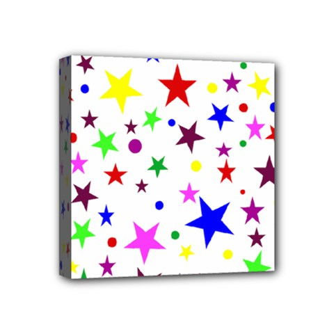 Stars Pattern Background Colorful Red Blue Pink Mini Canvas 4  x 4