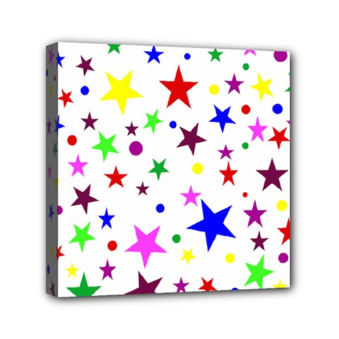 Stars Pattern Background Colorful Red Blue Pink Mini Canvas 6  x 6