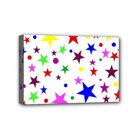 Stars Pattern Background Colorful Red Blue Pink Mini Canvas 6  x 4