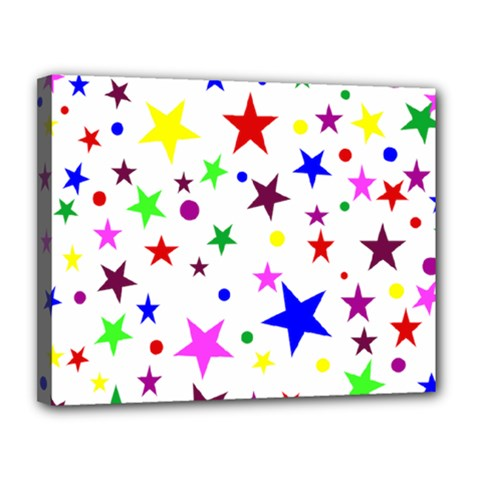 Stars Pattern Background Colorful Red Blue Pink Canvas 14  x 11