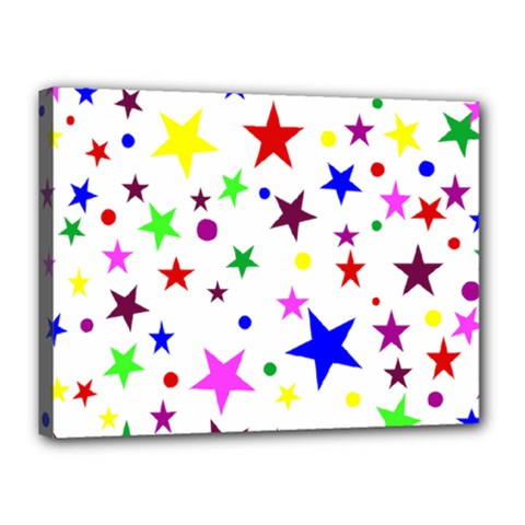 Stars Pattern Background Colorful Red Blue Pink Canvas 16  x 12