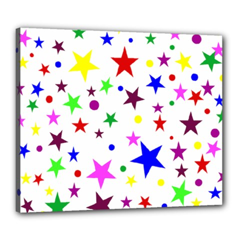 Stars Pattern Background Colorful Red Blue Pink Canvas 24  x 20