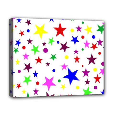Stars Pattern Background Colorful Red Blue Pink Deluxe Canvas 20  x 16
