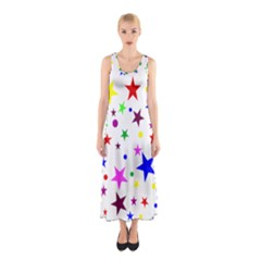 Stars Pattern Background Colorful Red Blue Pink Sleeveless Maxi Dress
