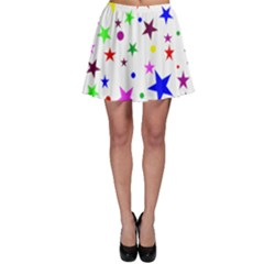 Stars Pattern Background Colorful Red Blue Pink Skater Skirt