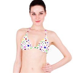 Stars Pattern Background Colorful Red Blue Pink Bikini Top
