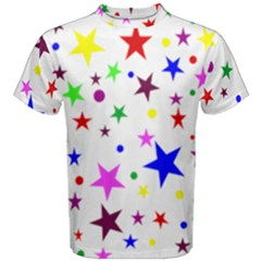 Stars Pattern Background Colorful Red Blue Pink Men s Cotton Tee