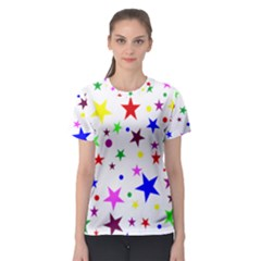 Stars Pattern Background Colorful Red Blue Pink Women s Sport Mesh Tee