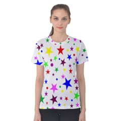 Stars Pattern Background Colorful Red Blue Pink Women s Cotton Tee