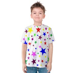 Stars Pattern Background Colorful Red Blue Pink Kids  Cotton Tee