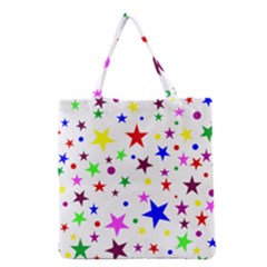 Stars Pattern Background Colorful Red Blue Pink Grocery Tote Bag