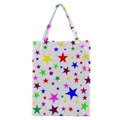 Stars Pattern Background Colorful Red Blue Pink Classic Tote Bag
