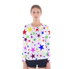 Stars Pattern Background Colorful Red Blue Pink Women s Long Sleeve Tee
