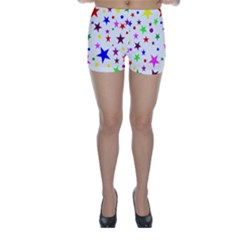 Stars Pattern Background Colorful Red Blue Pink Skinny Shorts