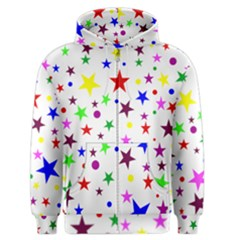 Stars Pattern Background Colorful Red Blue Pink Men s Zipper Hoodie