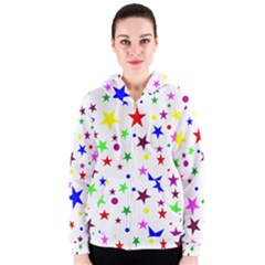 Stars Pattern Background Colorful Red Blue Pink Women s Zipper Hoodie