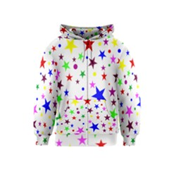 Stars Pattern Background Colorful Red Blue Pink Kids  Zipper Hoodie