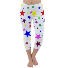 Stars Pattern Background Colorful Red Blue Pink Capri Winter Leggings