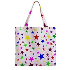 Stars Pattern Background Colorful Red Blue Pink Zipper Grocery Tote Bag
