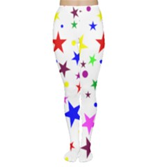 Stars Pattern Background Colorful Red Blue Pink Women s Tights