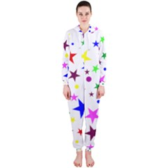 Stars Pattern Background Colorful Red Blue Pink Hooded Jumpsuit (ladies)