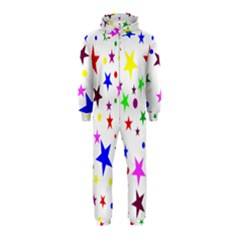 Stars Pattern Background Colorful Red Blue Pink Hooded Jumpsuit (Kids)