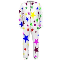Stars Pattern Background Colorful Red Blue Pink OnePiece Jumpsuit (Men)