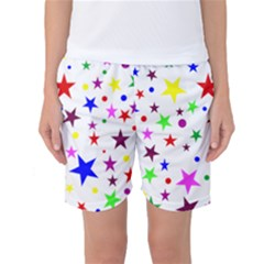 Stars Pattern Background Colorful Red Blue Pink Women s Basketball Shorts
