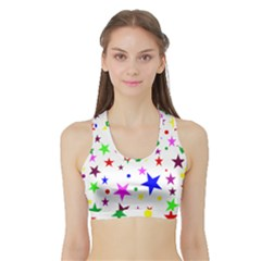 Stars Pattern Background Colorful Red Blue Pink Sports Bra with Border