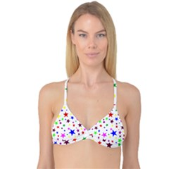 Stars Pattern Background Colorful Red Blue Pink Reversible Tri Bikini Top
