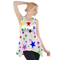 Stars Pattern Background Colorful Red Blue Pink Side Drop Tank Tunic