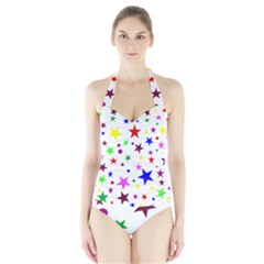 Stars Pattern Background Colorful Red Blue Pink Halter Swimsuit